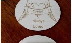 Magnetic Name Badge, laser- engraved with loved one's name, personalized badges