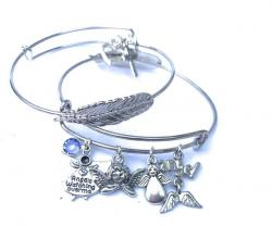 Angels watching over me Feather bangle