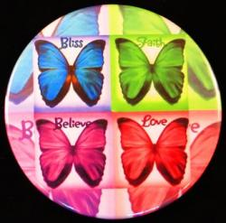 Believe, Bliss, Love, & Faith Butterflies Magnet or Pin