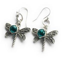 Dragonfly Swarovski Crystal Angel Dangle Earrings