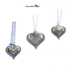 Layered Heart Guardian Angel Necklace