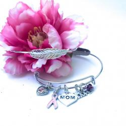 THINK PINK CRYSTAL BREAST CANCER SILVER FEATHER ANGEL BANGLE