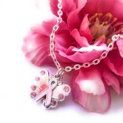 Think Pink Breast Cancer Awareness Angel Wing Ribbon Necklace