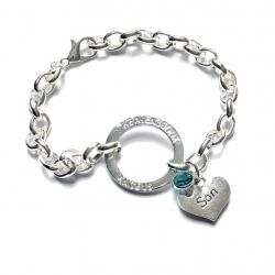 Guardian Angel Wing Silver Link Chain Halo Bracelet (20 Relationships)
