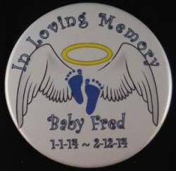 Angel Wings With Footprints Magnet or Pin