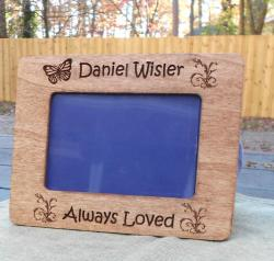 Engraved Frame, Butterfly and Butterfly Bush