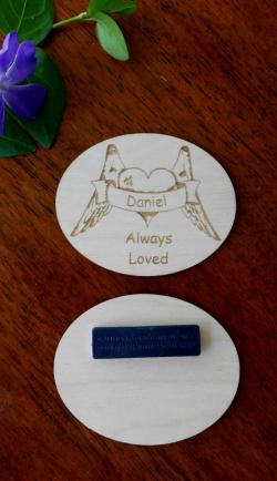 Personalized Laser-engraved Magnetic Name Badge with loved one's name, heart, angel wings