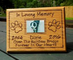 Pet Memorial Plaque, laser-engraved pet's name and dates, pet remembrance plaque