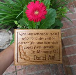 Songs From Heaven Remembrance Plaque