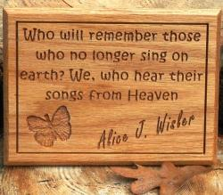 Remembrance Plaque--Songs From Heaven