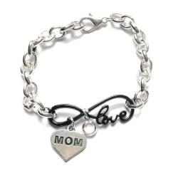 Guardian Angel Mourning Love Silver Link Chain Bracelet (20 relationships)