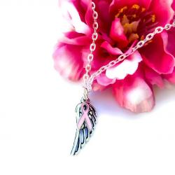 BREAST CANCER AWARENESS ANGEL WING NECKLACE