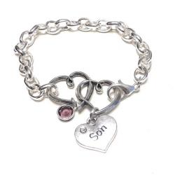 Guardian Angel Silver Linked Hearts Chain Bracelet (30 relationships)