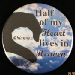 Half My Heart Lives In Heaven Magnet or Pin