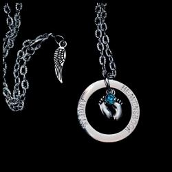 Foot print Infant Loss Birthstone Halo Necklace
