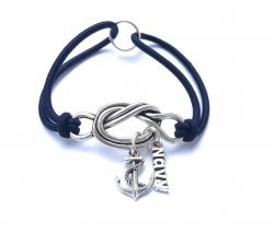 Fallen Hero Navy Anchor Forget Me Knot Bracelet