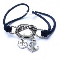 Fallen Hero Navy Anchor Love Forget Me Knot Bracelet