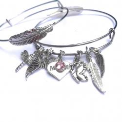 Signs From Above Sterling Silver Feather Angel Bangle