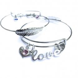 Silver Love My Guardian Angel Feather Bangle