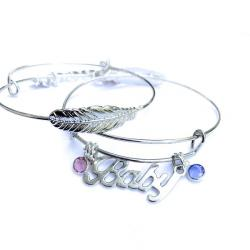 Swarovski Crystal Angel Baby Silver Forever Feather Bangle