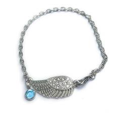 Heavenly Rhinestone Angel Wing Silver Cable Link Bracelet