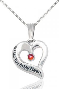 I'll Hold You In My Heart Sterling Silver Birthstone Pendant