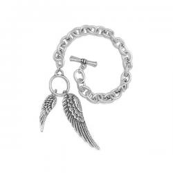 Rhodium Plated Angel Wings Bracelet