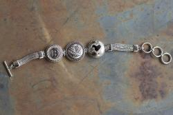 Angel Wings Triple Charm Toggle Bracelet