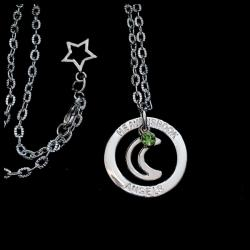 To The Moon Birthstone Halo Necklace
