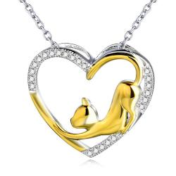 Sterling Silver Open Heart Cat Necklace