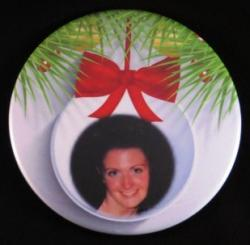 Option 1: White ornament with red bow, no words